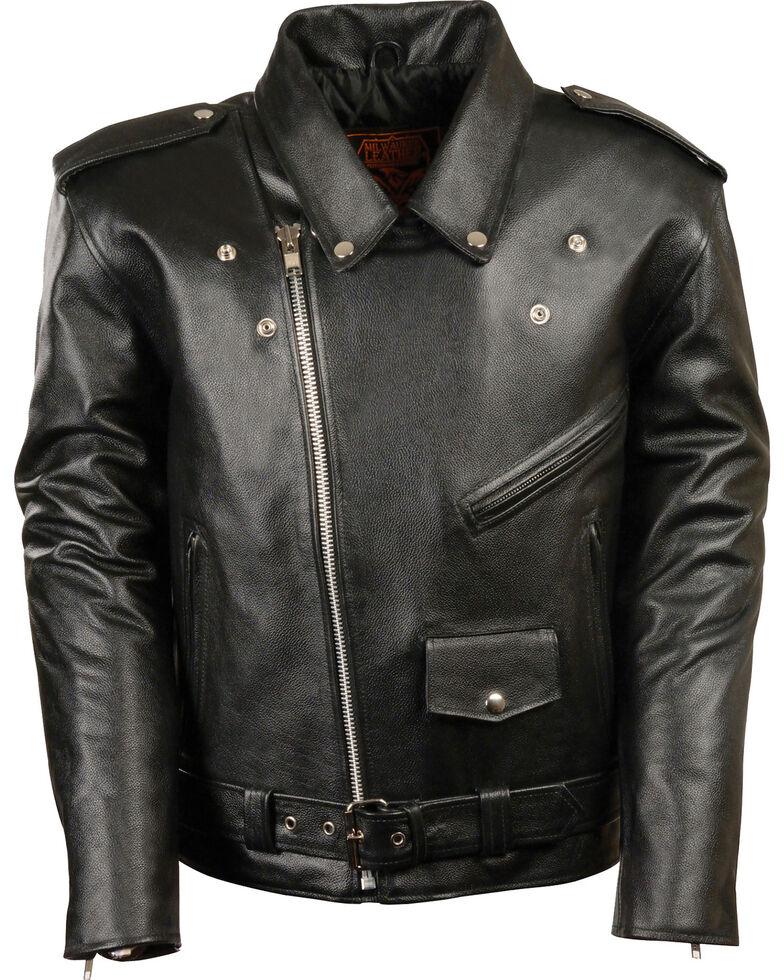 Milwaukee Leather Men's Black Classic Police Style M/C Jacket , Black, hi-res