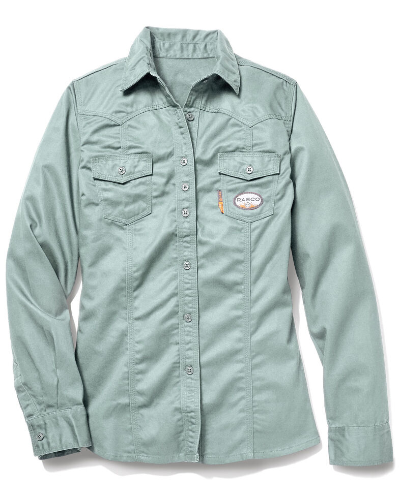 Rasco Women's FR Sage Work Shirt , Sage, hi-res
