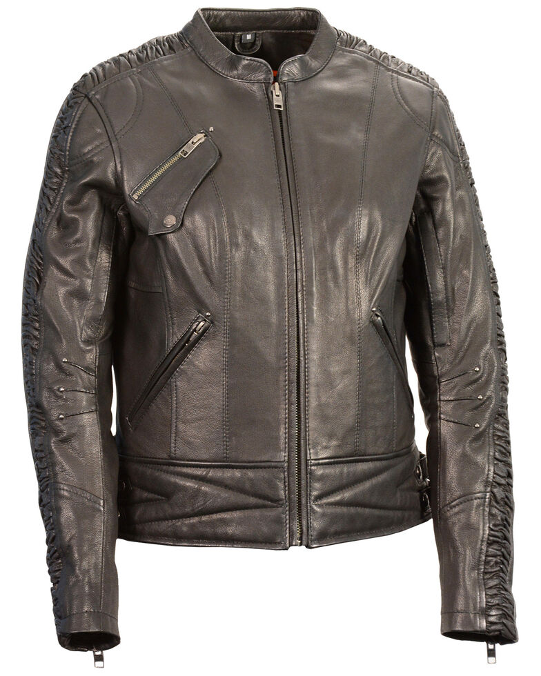 Milwaukee Leather Women's Crinkle Arm Lightweight Racer Leather Jacket - 3X, , hi-res