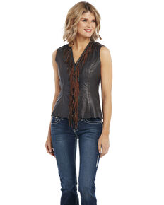 Cripple Creek Women's Fringe Beaded Vest, Chocolate, hi-res