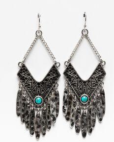 Shyanne Women's Hammered Diamond Fringe Frenzy Earrings, Silver, hi-res