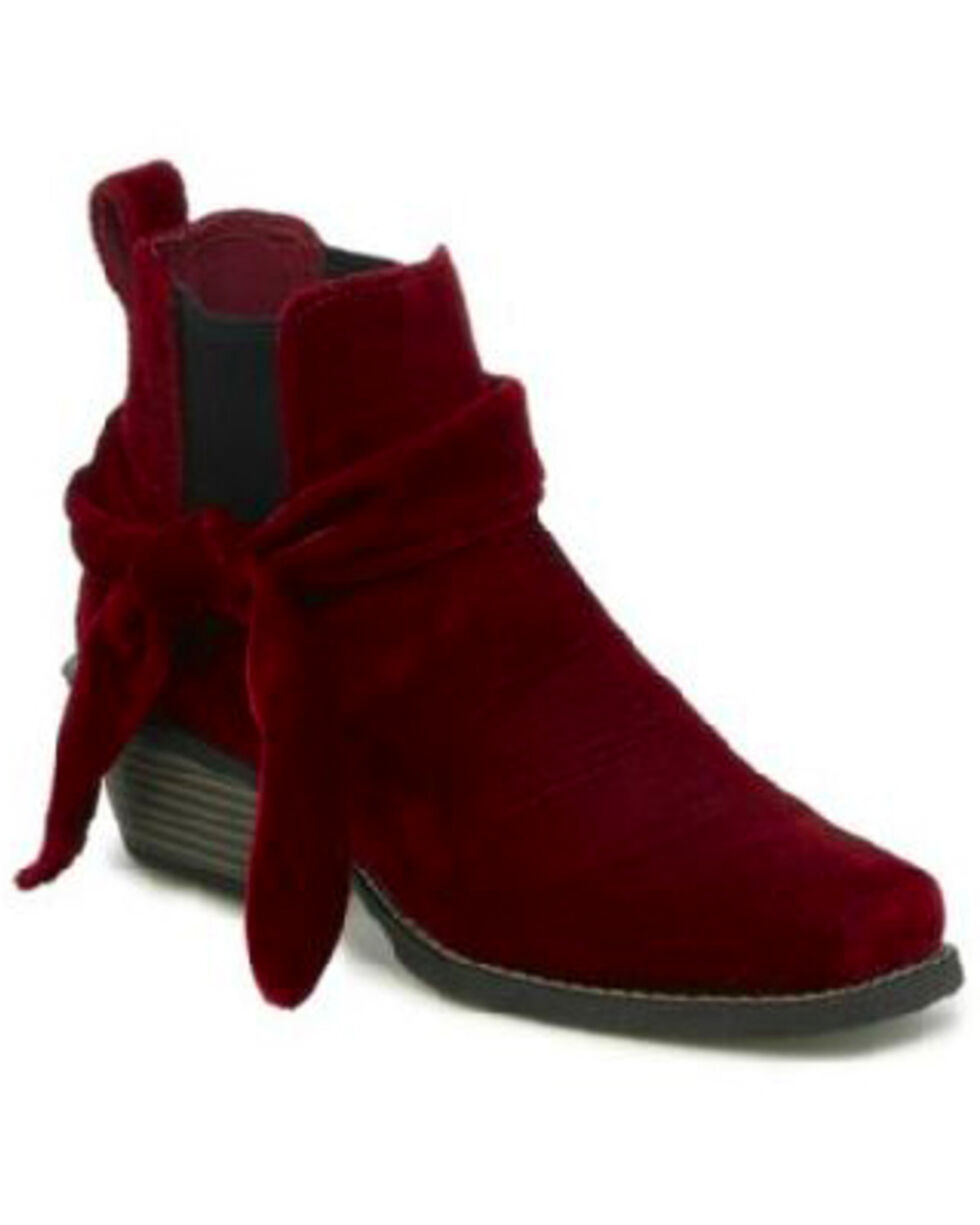 Justin Gypsy Women's Chellie Burgundy Velvet Booties - Wide Square Toe, Red, hi-res