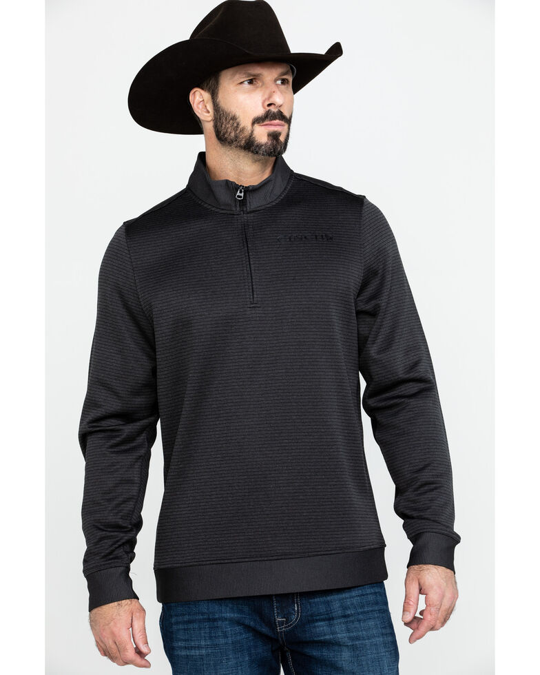 Cinch Men's Black 1/4 Zip Front Sweater Knit Pullover , Black, hi-res