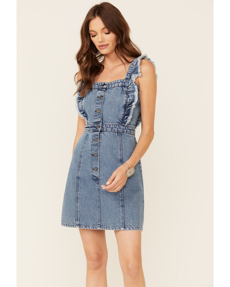 Elan Women's Fray Edge Ruffled Denim Dress, Blue, hi-res
