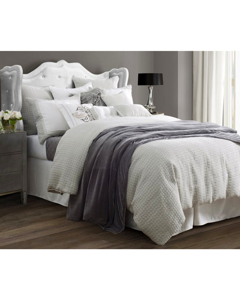 4-Piece HiEnd Accents Wilshire Super King Comforter Set, Light Grey, hi-res