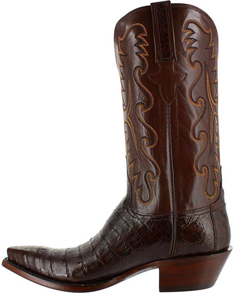Lucchese Men's Exotic Caiman Western Boots, Brown, hi-res