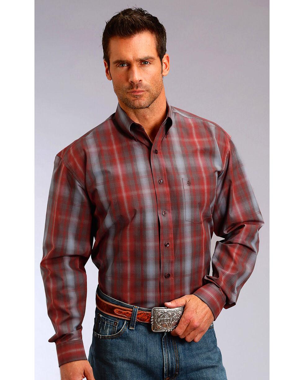 Stetson Men's Burgundy Plaid Long Sleeve Shirt, Burgundy, hi-res