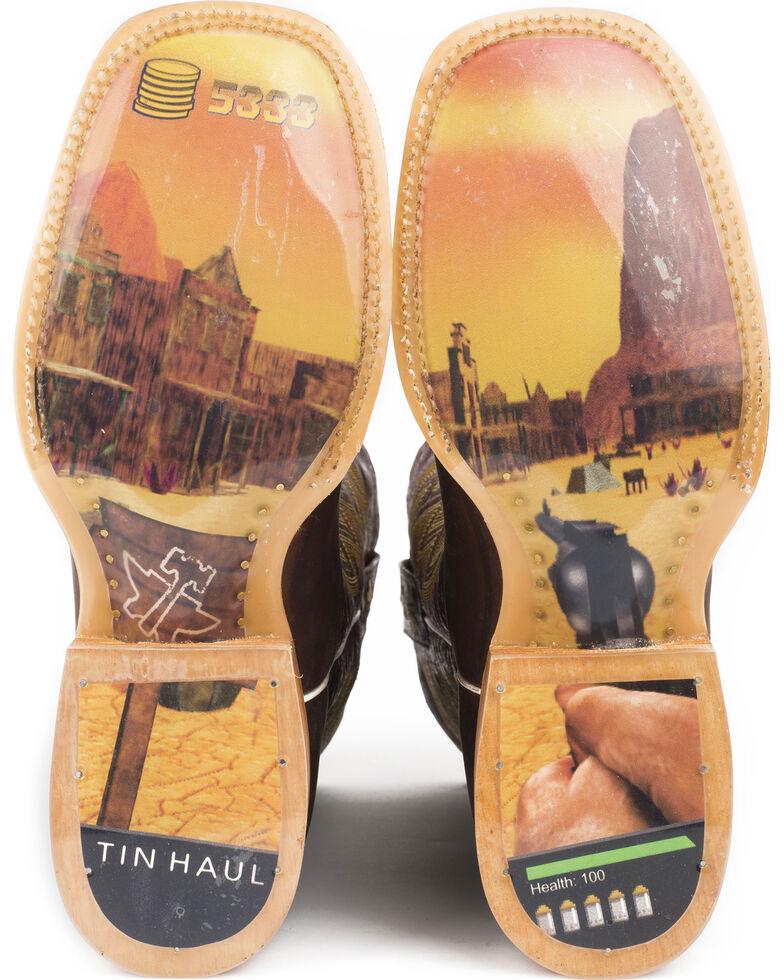 Tin Haul Men's Gunslinger Oily Brown Leather Cowboy Boots - Square Toe, Brown, hi-res