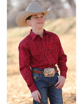 Cinch Boys' Burgundy Paisley Print Long Sleeve Western Shirt , Red, hi-res