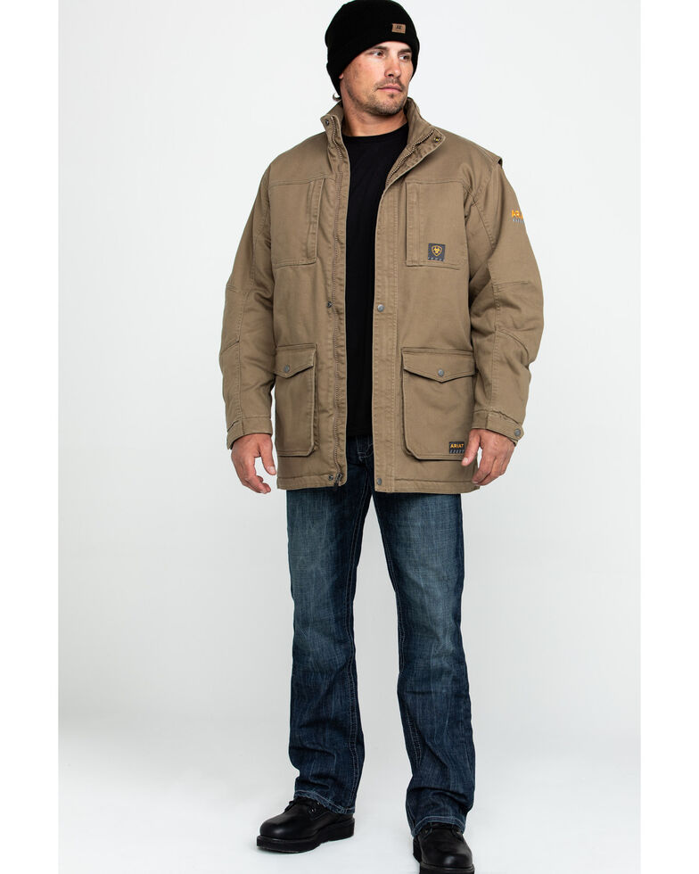 Ariat Men's Khaki Rebar Washed Dura Canvas Insulated Work Coat - Big & Tall , Beige/khaki, hi-res