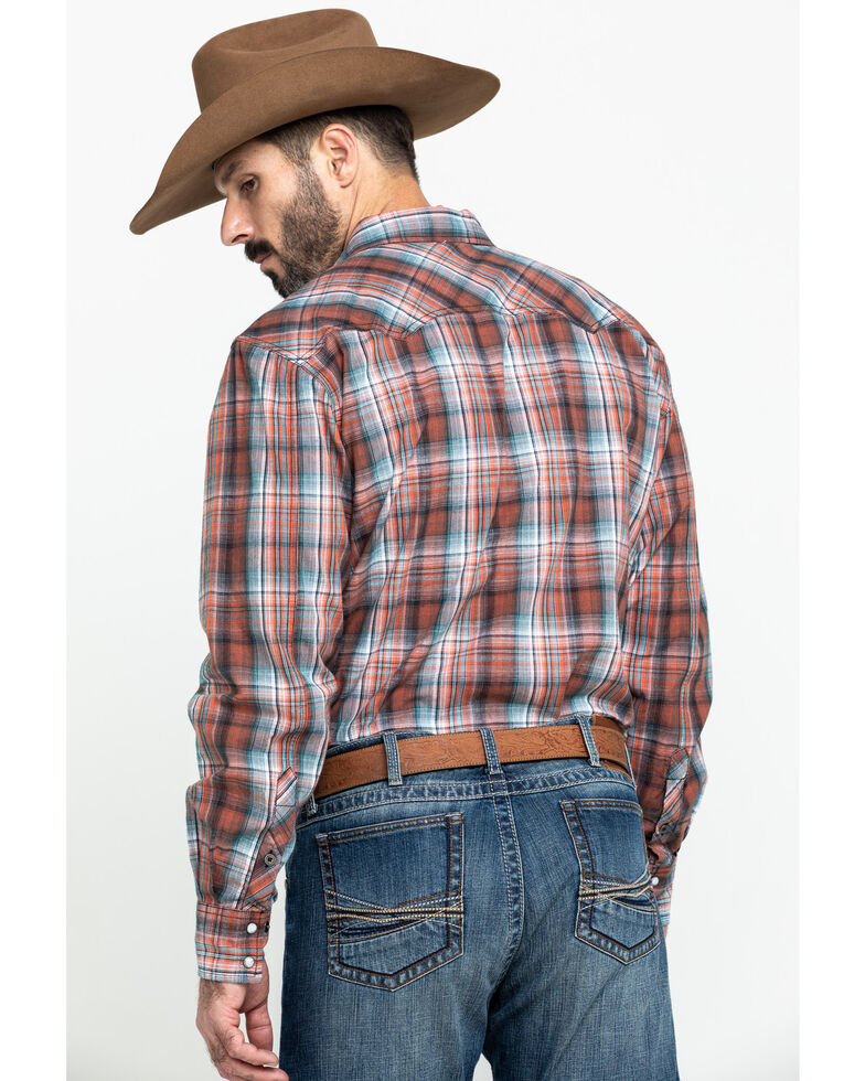 Cinch Men's Modern Fit Orange Small Plaid Long Sleeve Western Shirt , Orange, hi-res