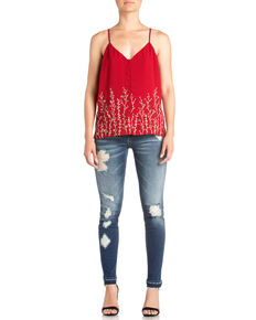 Miss Me Women's Vined Up Beaded Cami , Red, hi-res