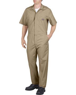 Dickies Short Sleeve Work Coveralls, Khaki, hi-res