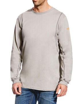 Ariat Men's Grey FR Crew Neck Long Sleeve Shirt - Tall, Grey, hi-res