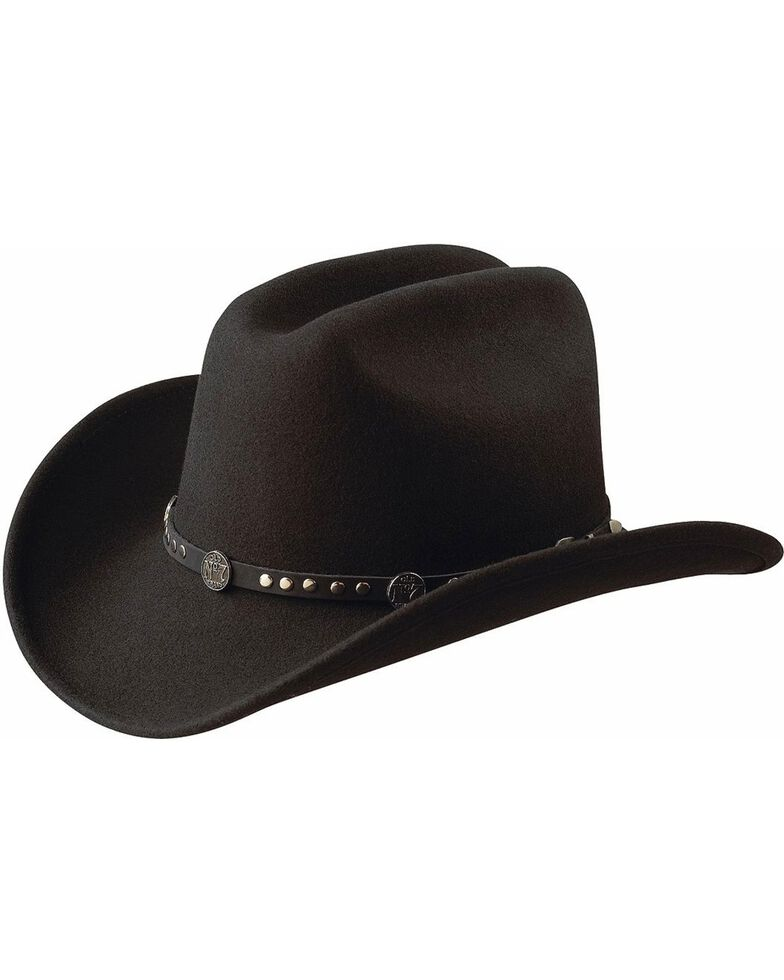 Jack Daniel's Studded Concho Wool Felt Crushable Cowboy Hat, Black, hi-res