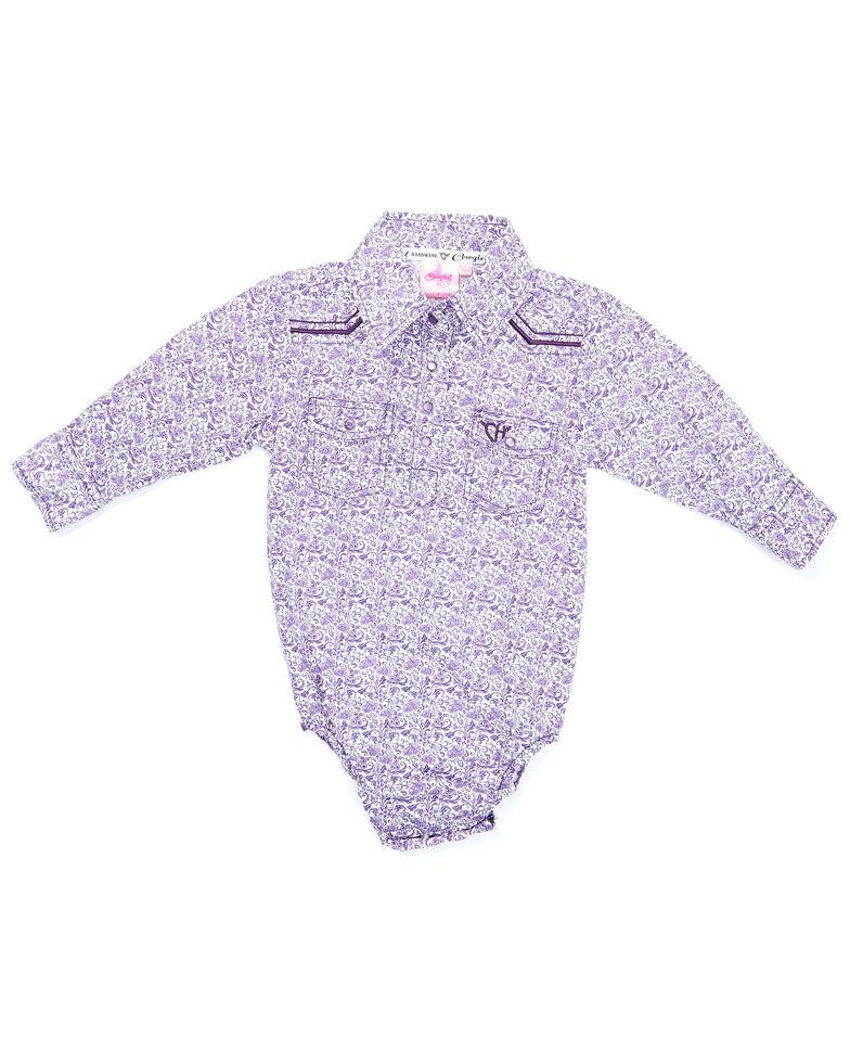 Cowgirl Hardware Infant Girls' Purple Floral Print Long Sleeve Snap Western Onesie , Purple, hi-res