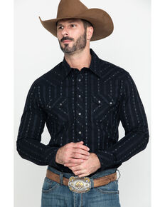 Rock & Roll Cowboy Black Jacquard Striped Geo Print Long Sleeve Western Shirt , Black, hi-res