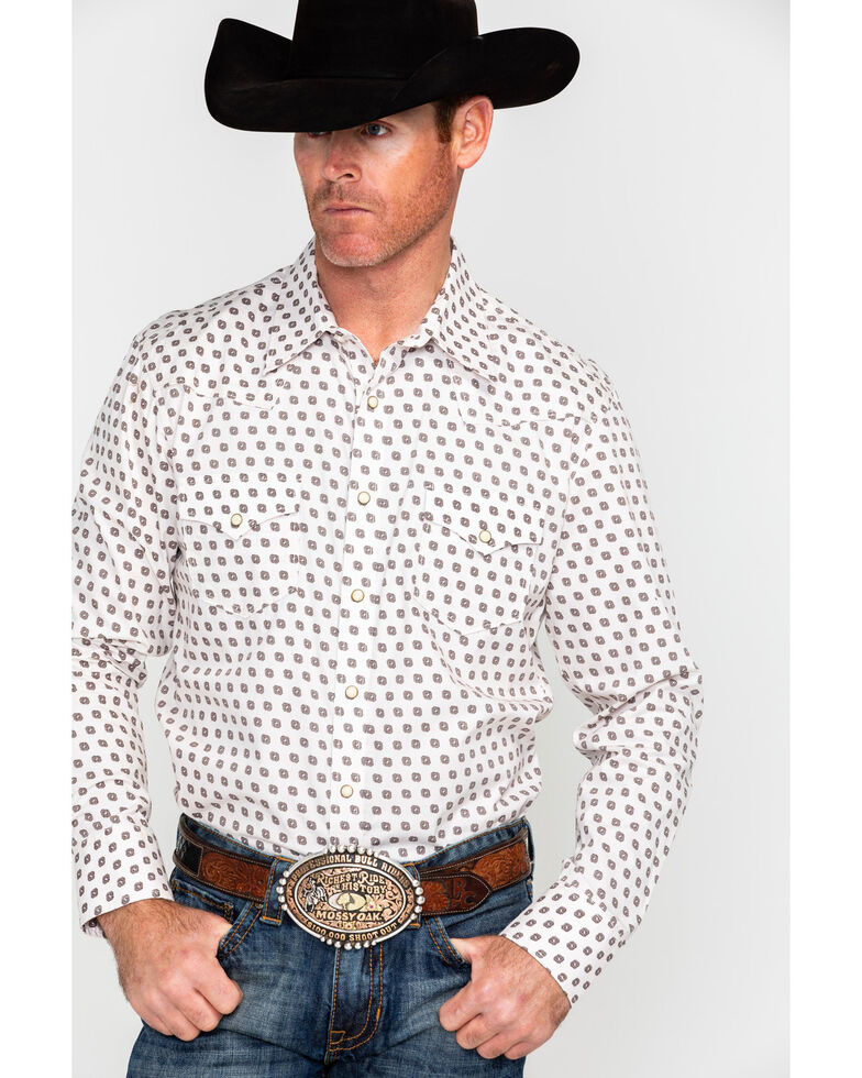 Rock & Roll Cowboy Men's Crinkle Washed Poplin Print Long Sleeve Western Shirt , Cream, hi-res