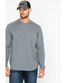 Hawx Men's Heather Grey Logo Crew Long Sleeve Work T-Shirt - Big , Heather Grey, hi-res
