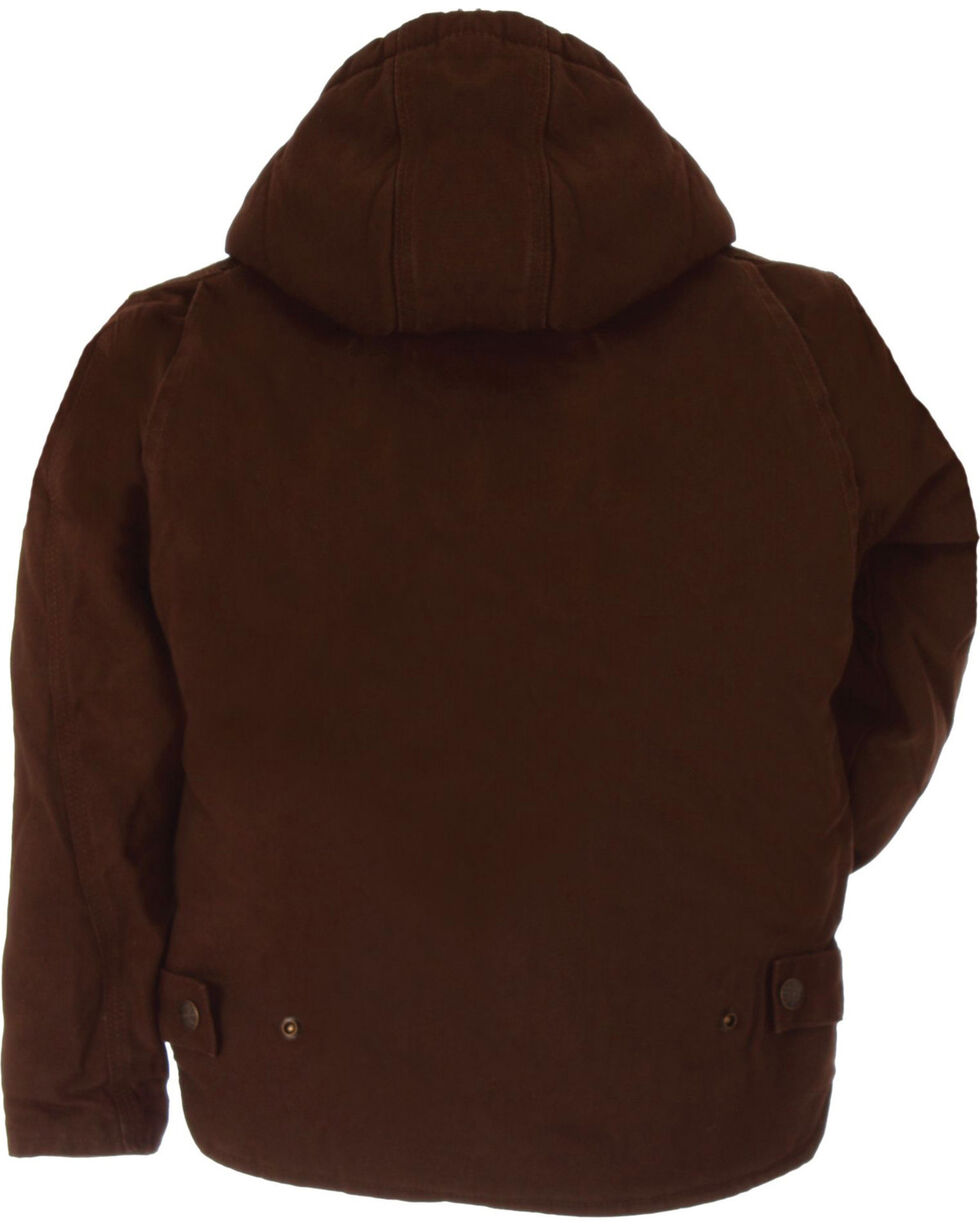 Berne Youth Boys' Washed Sherpa-Lined Hooded Jacket, Bark, hi-res