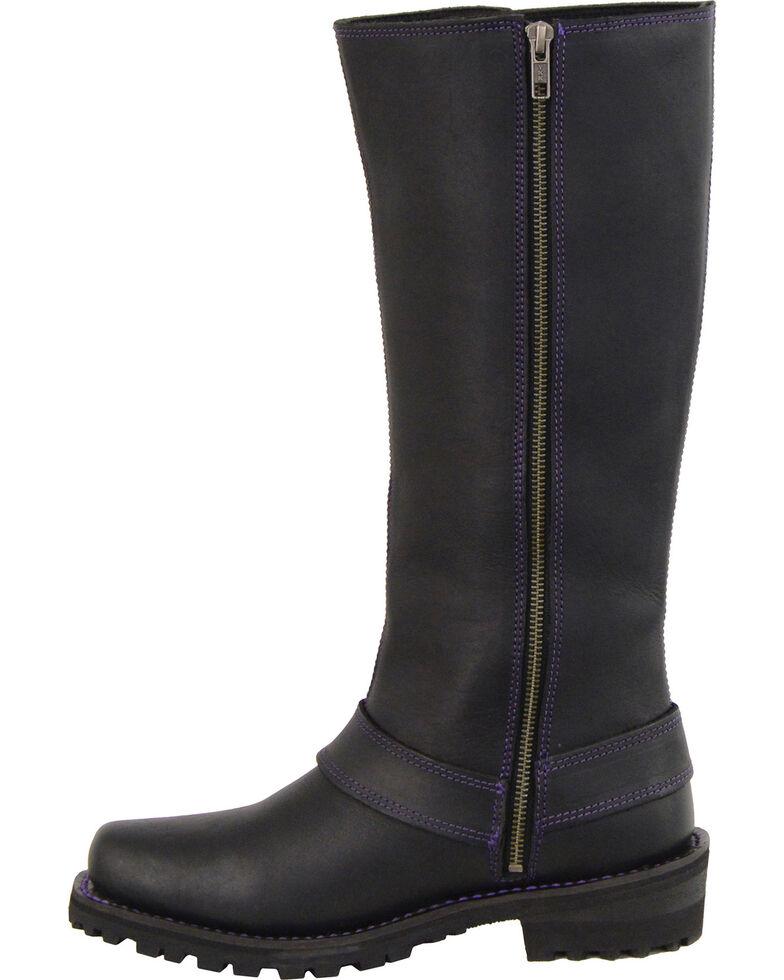 "Milwaukee Leather Women's Black 14"" Purple Accent Lacing Boots - Square Toe , Black, hi-res"