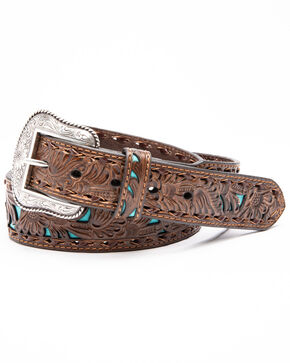 Nocona Men's Floral Embossed Overlay Belt, Tan, hi-res