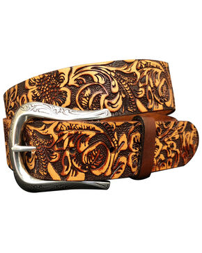 Roper Women's Embossed Floral Genuine Leather Belt, Tan, hi-res