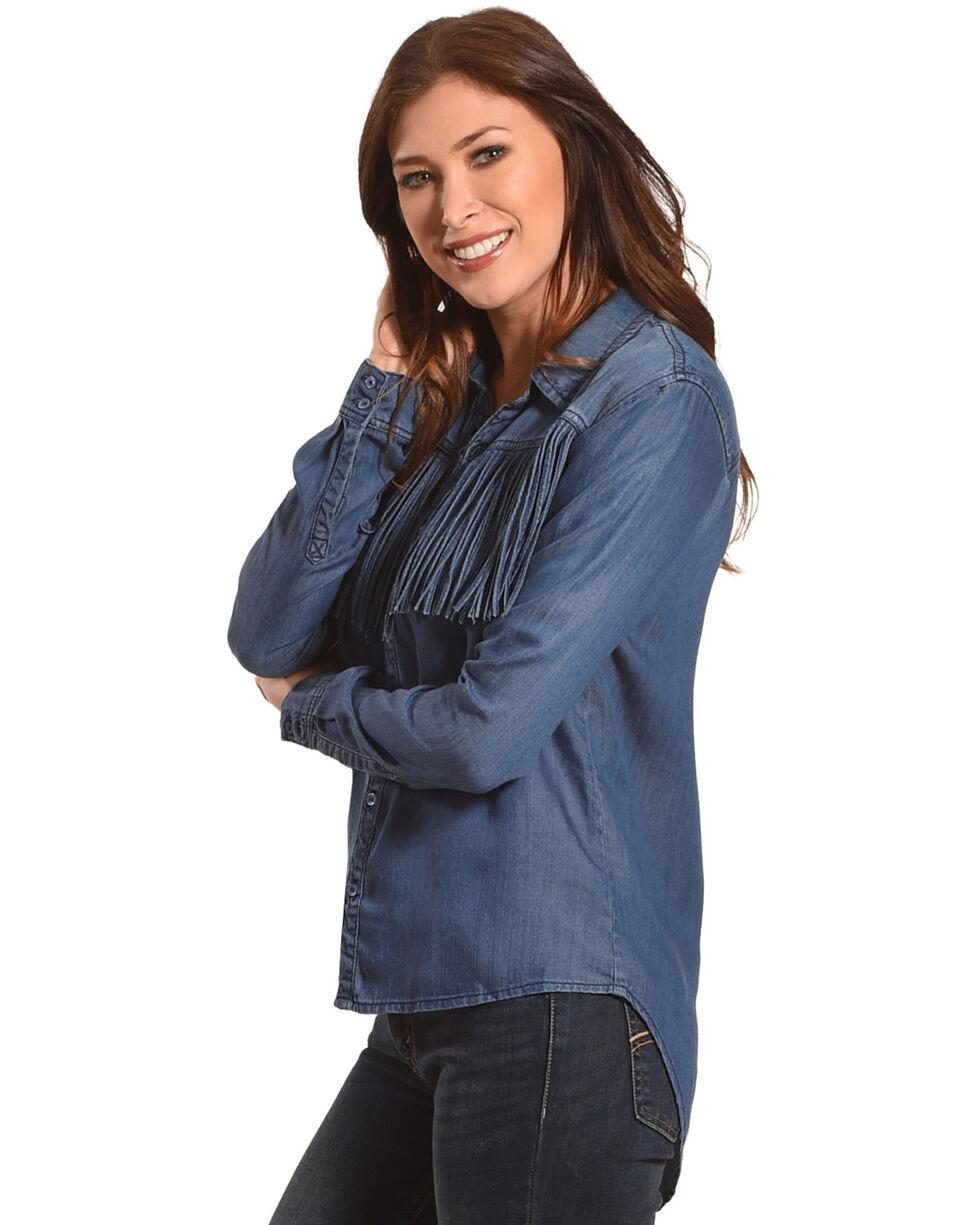 Tractr Blu Women's Indigo Chambray Fringe Shirt, Indigo, hi-res
