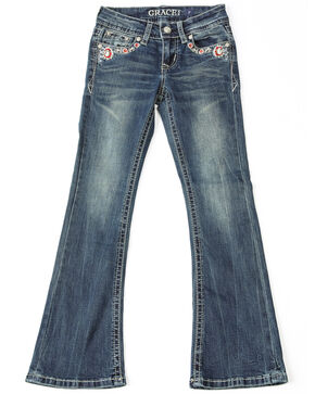 Grace In LA Girls' Floral Embroidered Boot Jeans , Blue, hi-res