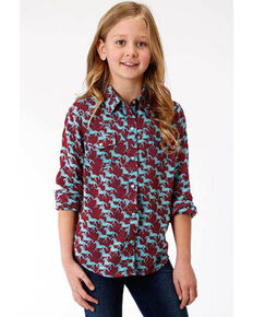 Five Star Girls' Stampede Print Snap Long Sleeve Western Shirt, Multi, hi-res