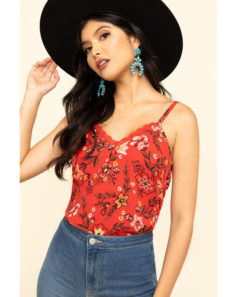 Shyanne Women's Floral Lace Cami , Red, hi-res