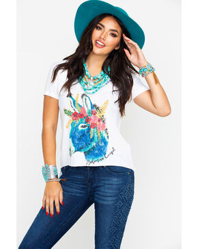Bohemian Cowgirl Women's Watercolor Donkey Graphic Tee  , Ivory, hi-res