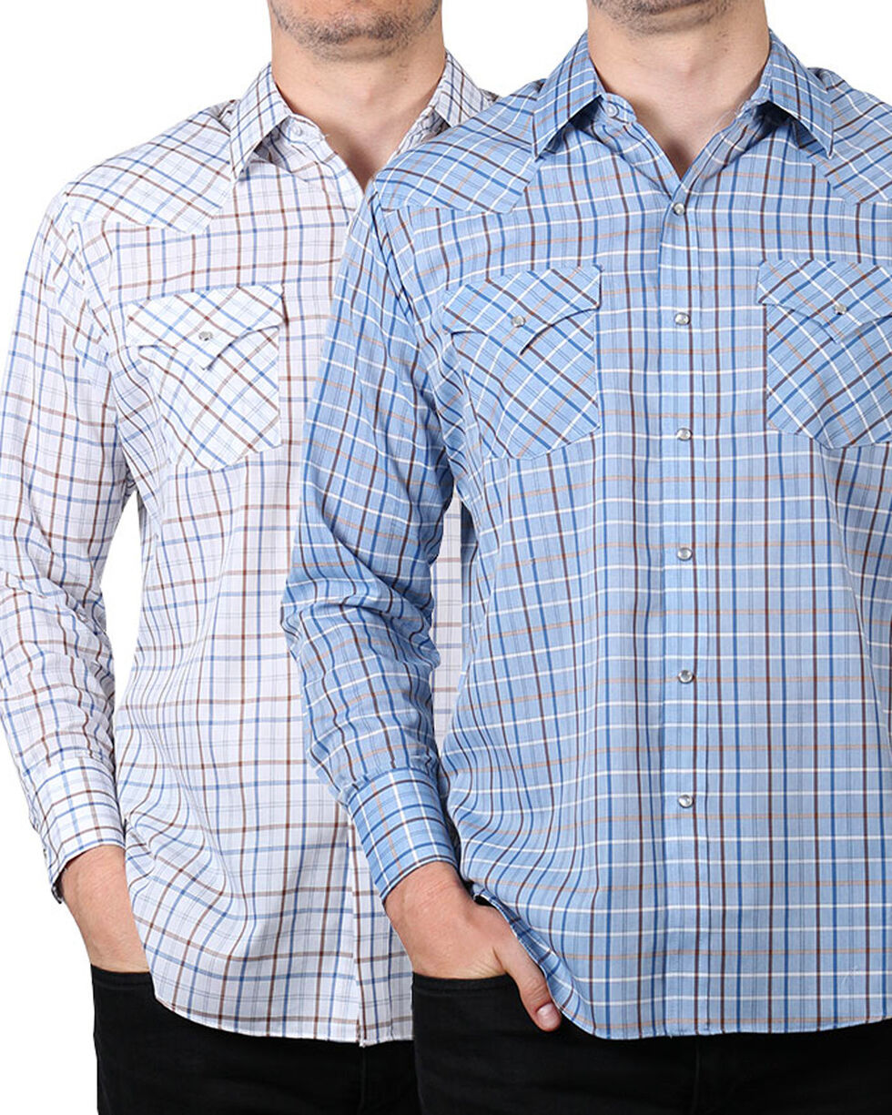 Ely Cattleman Men's Assorted Plaid Snap Long Sleeve Shirt , Multi, hi-res