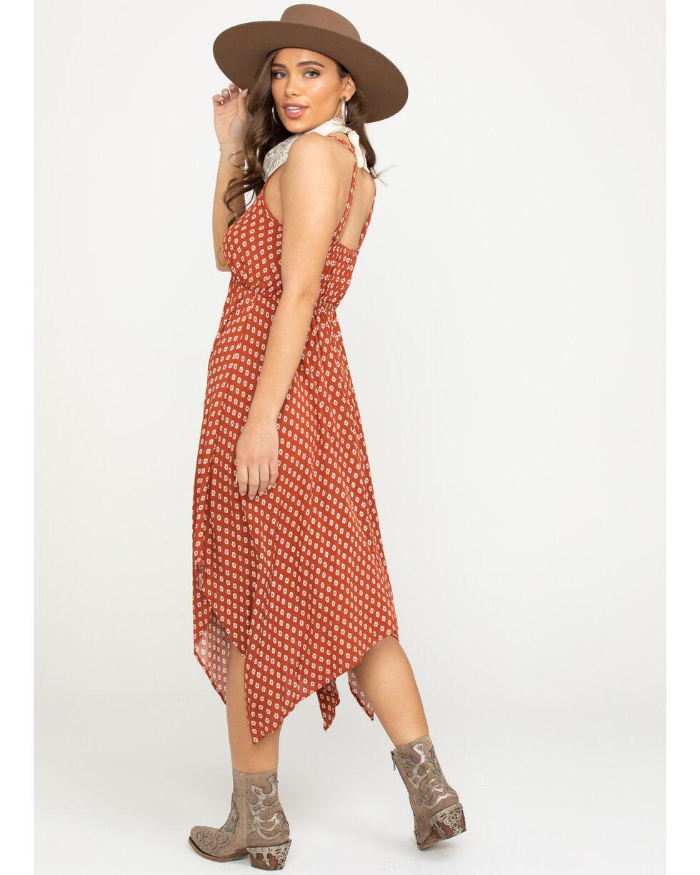Luna Chix Women's Rust Tile Print Hanky Hem Crochet Dress , Rust Copper, hi-res