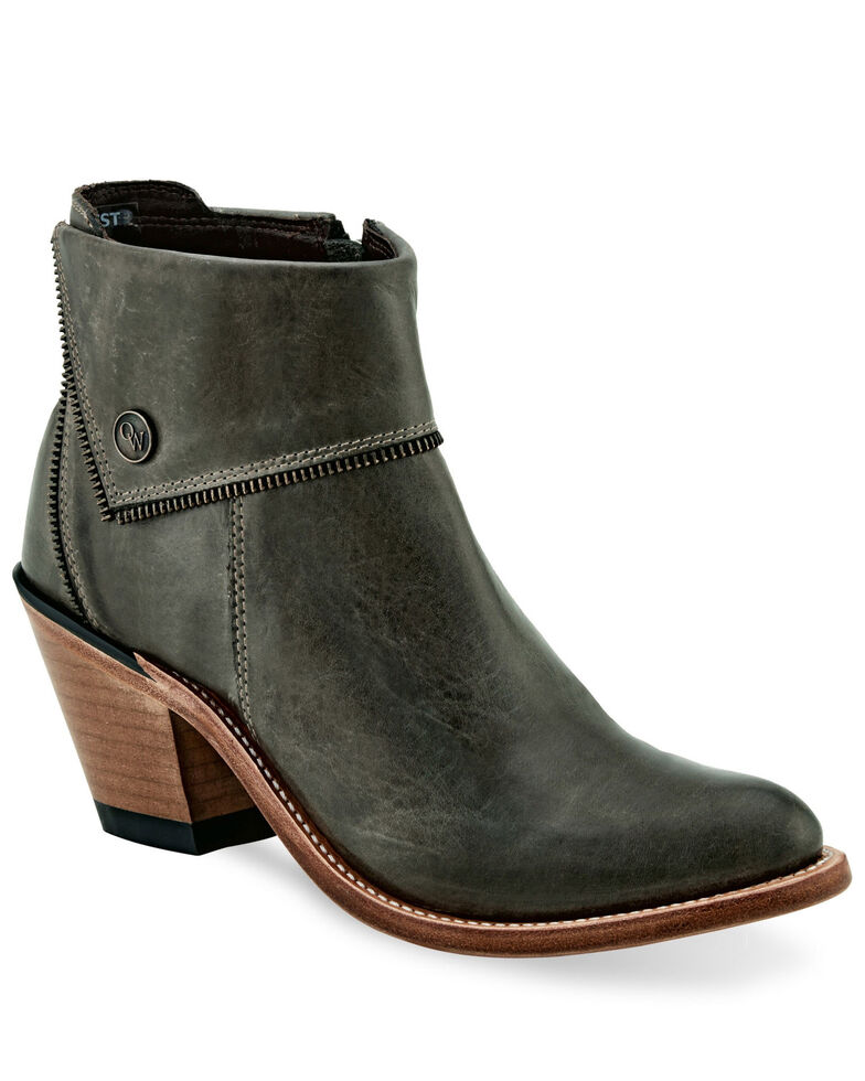 Old West Women's Distressed Black Zipper Fashion Booties - Pointed Toe, Grey, hi-res