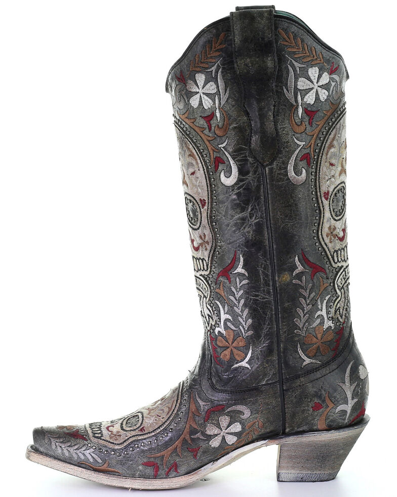 Corral Women's Sugar Skull Embroidery Western Boots - SnipToe, Black, hi-res