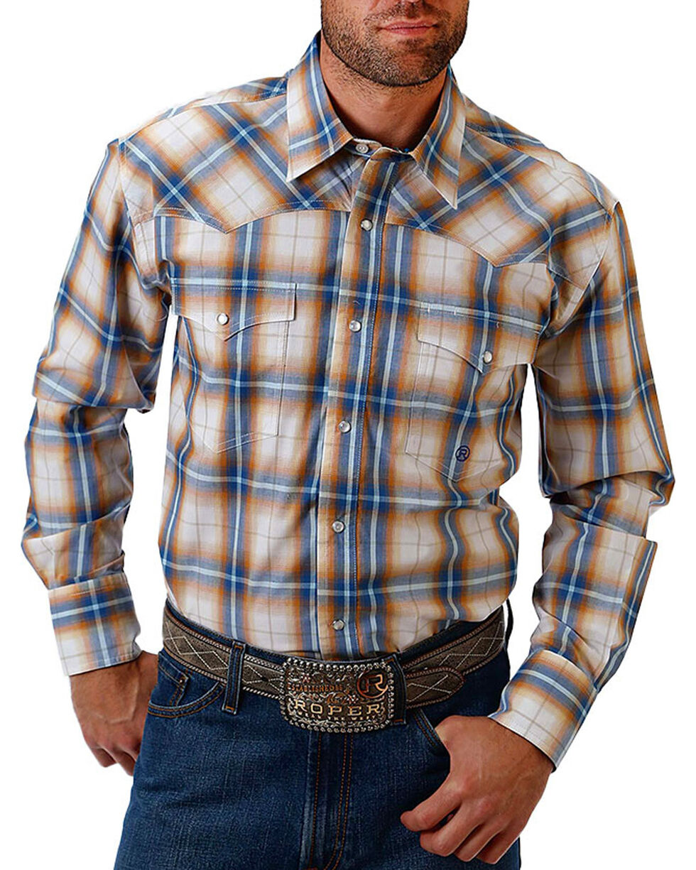 Roper Men's Check Plaid and Paisley Trim Long Sleeve Shirt, White, hi-res