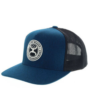 HOOey Men's Blue Guadalupe Circle Patch Mesh Cap, Blue, hi-res