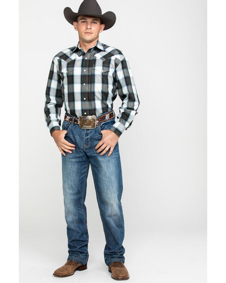 Stetson Men's Gray Large Plaid Long Sleeve Western Shirt , Grey, hi-res