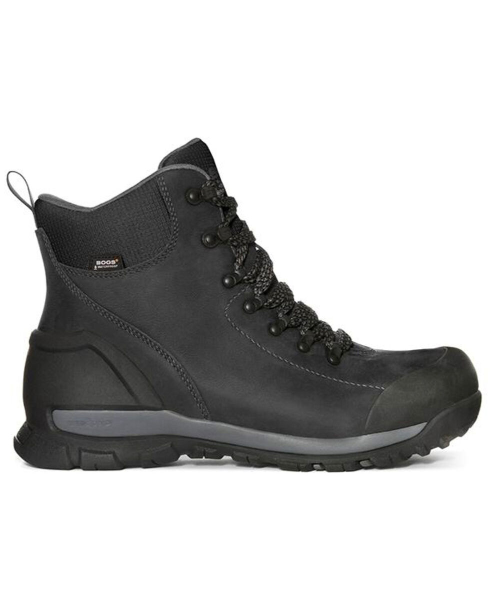 Bogs Men's Black Foundation Waterproof Work Boots - Composite Toe, Black, hi-res