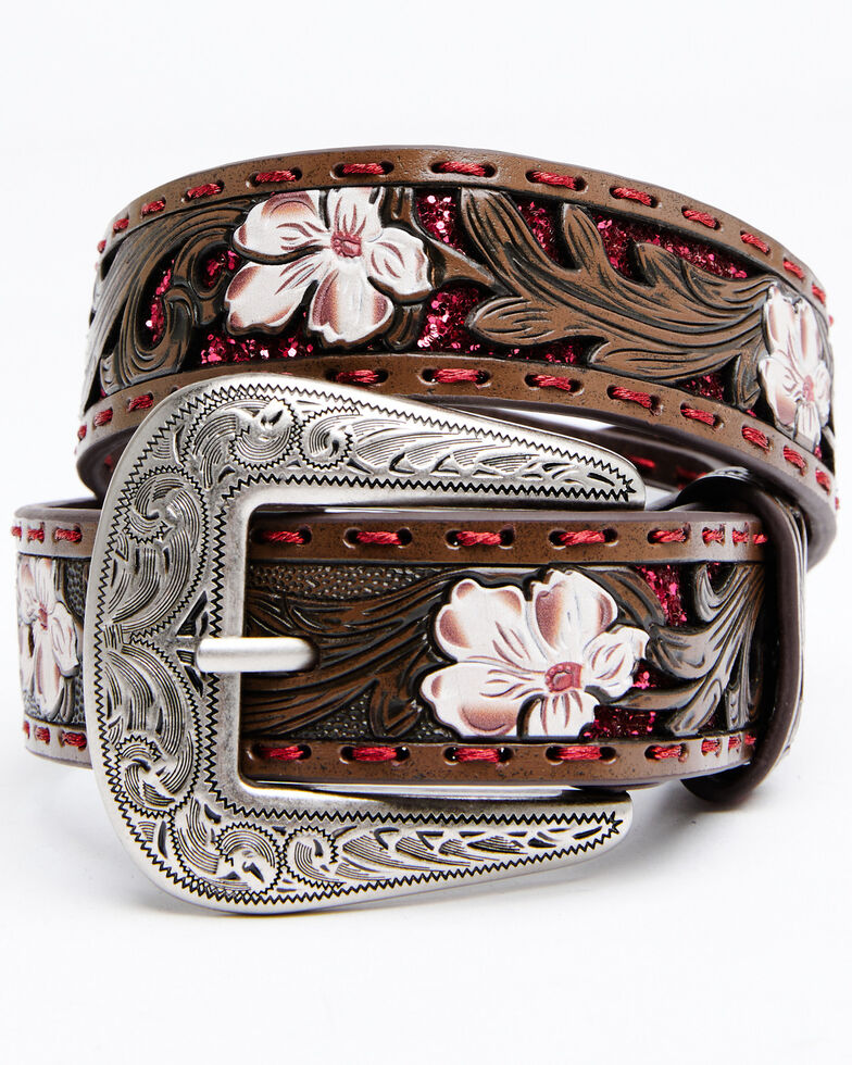 Shyanne Girls' Tooled Floral Pink Glitter Underlay Belt, Brown, hi-res