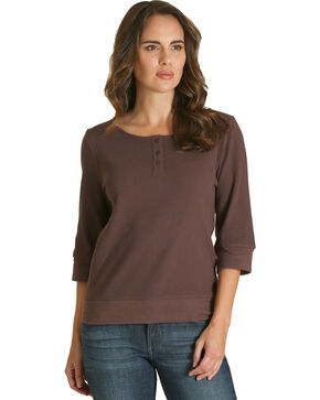 Wrangler Women's Brown Quarter Sleeve Henley Top, Brown, hi-res