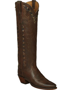 Lucchese Handmade Brown Danielle Goatskin Tall Cowgirl Boots - Snip Toe , Dark Brown, hi-res