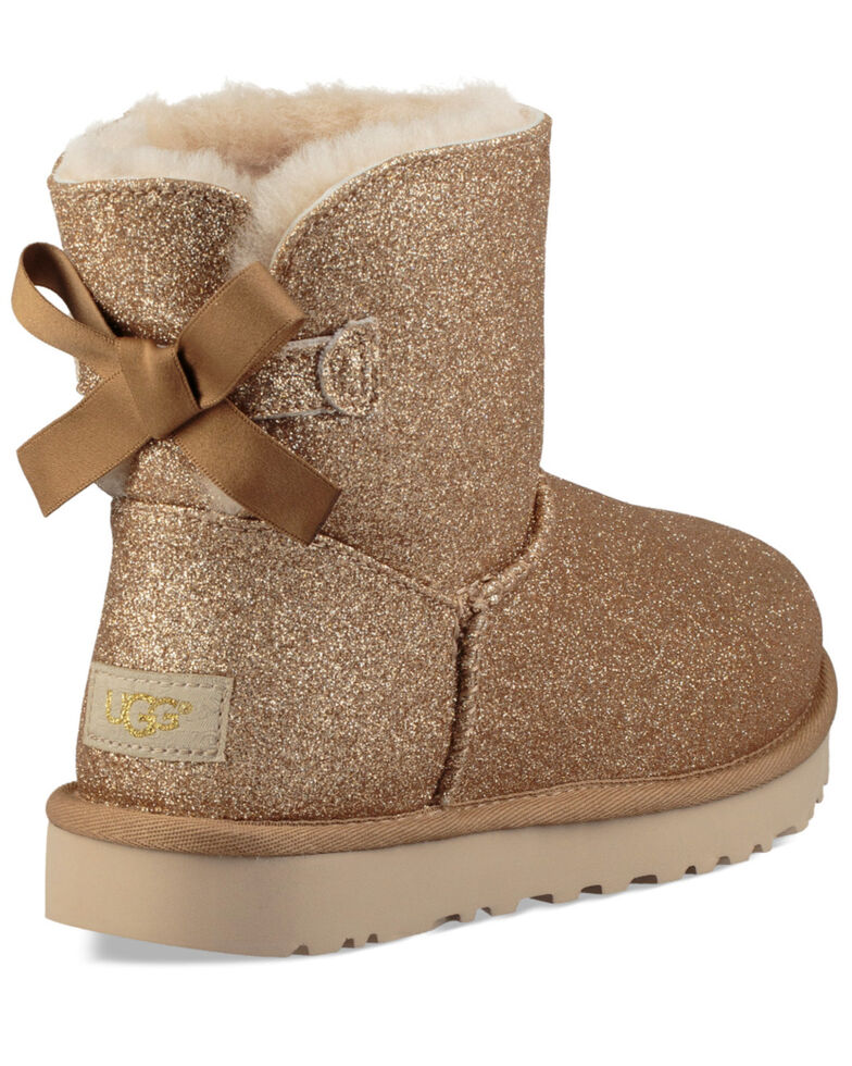 UGG Women's Gold Mini Bailey Bow Sparkle Boots - Round Toe, Gold, hi-res