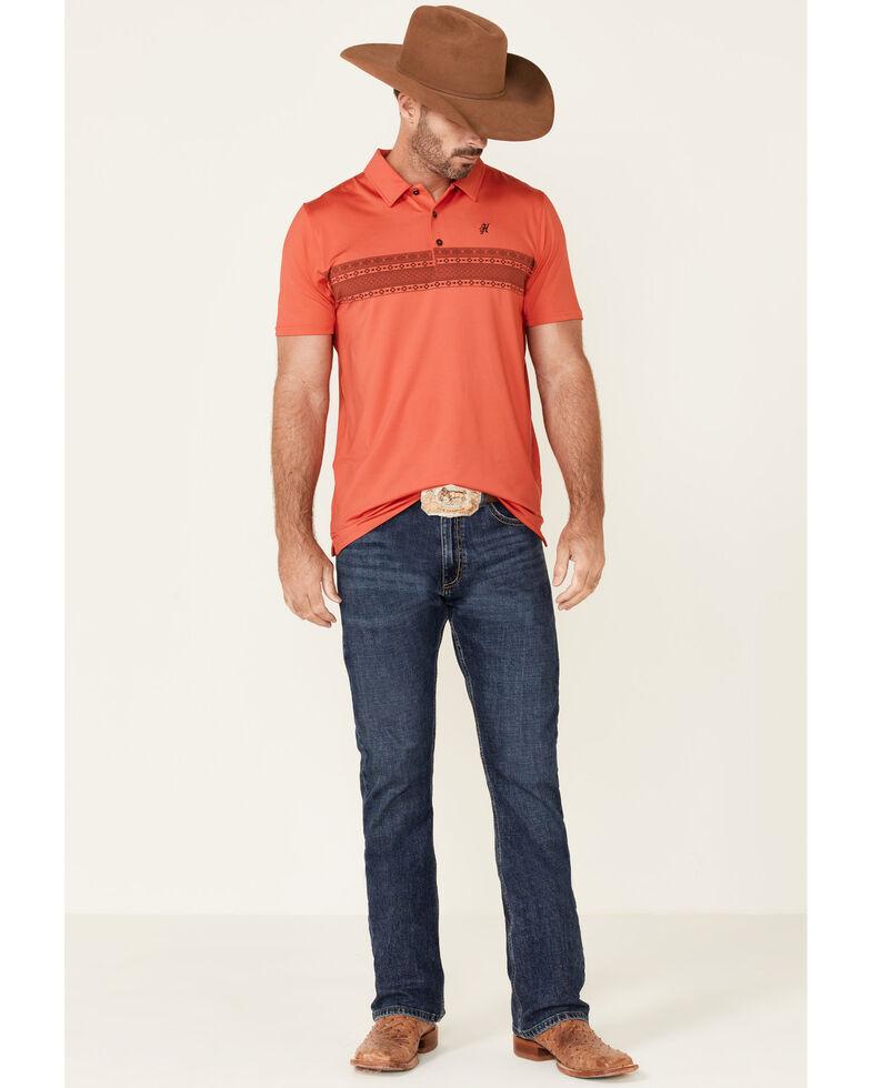 HOOey Men's Watermelon Aztec Stripe Weekender Short Sleeve Polo Shirt , Coral, hi-res
