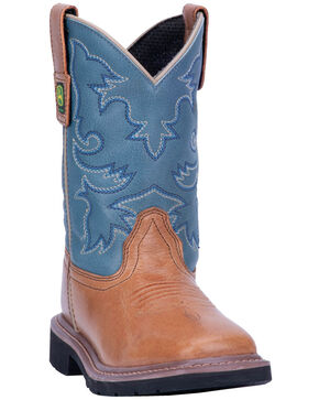 John Deere Boy's Johnny Popper Western Boots - Wide Square Toe, Brown, hi-res