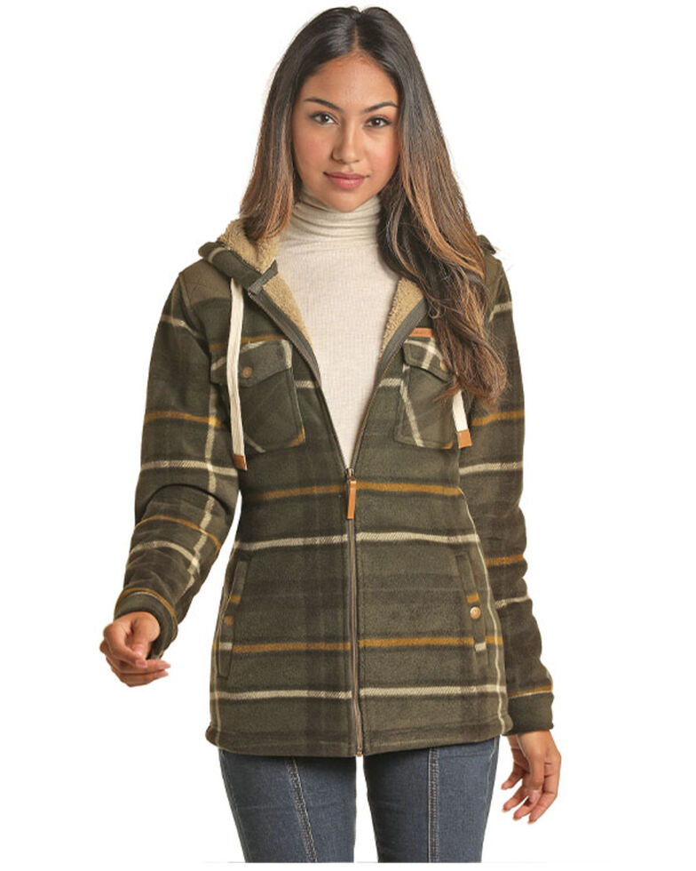 Powder River Outfitters Women's Olive Plaid Zip Lined Jacket, Olive, hi-res