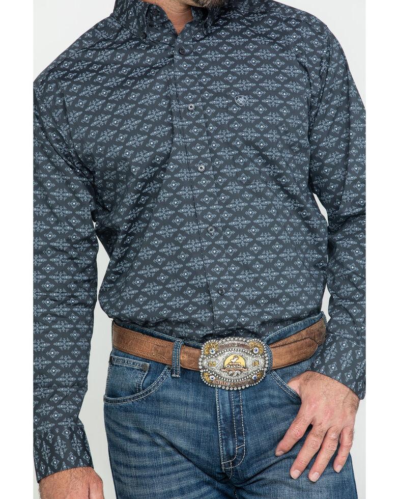 Ariat Men's Flossmoor Stretch Aztec Geo Print Long Sleeve Western Shirt - Big , Brown, hi-res
