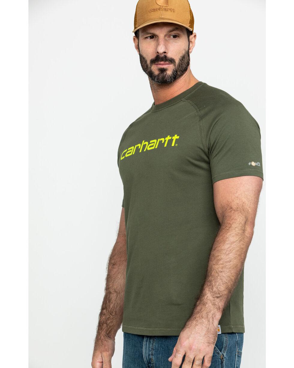 Carhartt Men's Green Force Cotton Delmont Graphic Work Shirt, Moss Green, hi-res