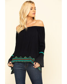 Wrangler Women's Black Off The Shoulder Bell Sleeve Top, Black, hi-res